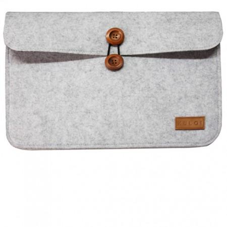 Top Loading Cotton Felt Laptop Case with Wooden Button Secure Closure - Top Loading Cotton Felt Laptop Case (Laptop Sleeve) with Wooden Button Secure Closure