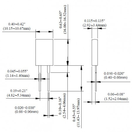 TO-220 Power Resistor - TR20 Series Dimensions