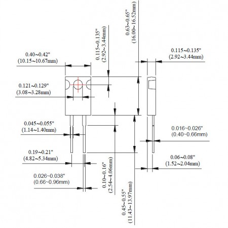 TO-220 Power Resistor - TR30 Series Dimensions