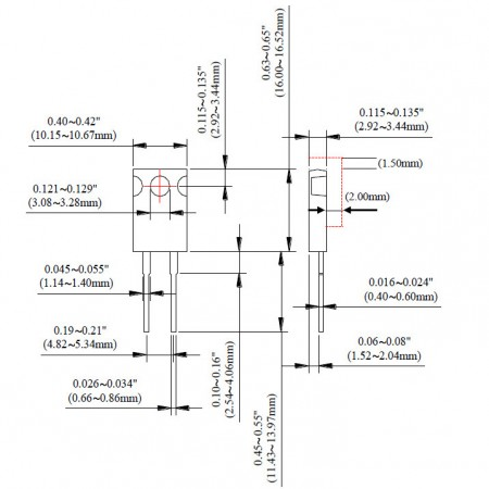 TO-220 Power Resistor - TR50-H Series Dimensions