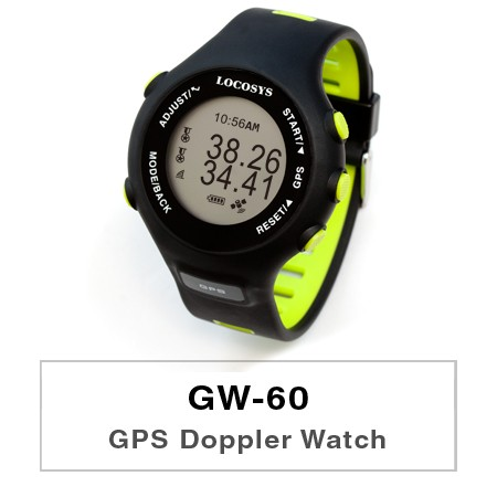 GPS Doppler Watch GW-60 - GW-60, a robust, highly-refined and wearable tool for surfing sports, is the natural heir to the LOCOSYS' Surfing GPS series (GT-31, GW-31, and GW-52), with a character all of their own.