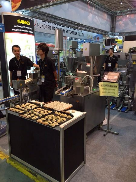 Demonstrating production of food at the show in 2015