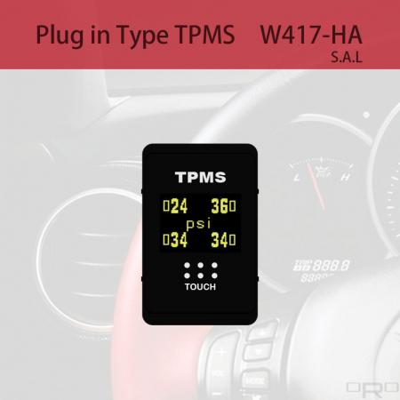 Plug in Type Tire Pressure Monitoring System (TPMS) - W417-HA is switch type TPMS and suitable for specific 4 wheel vehicles.