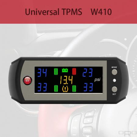 Universal Tire Pressure Monitoring System (TPMS) - W410 is an universal Tire Pressure Monitoring System which suitable to all kind of vehicles.