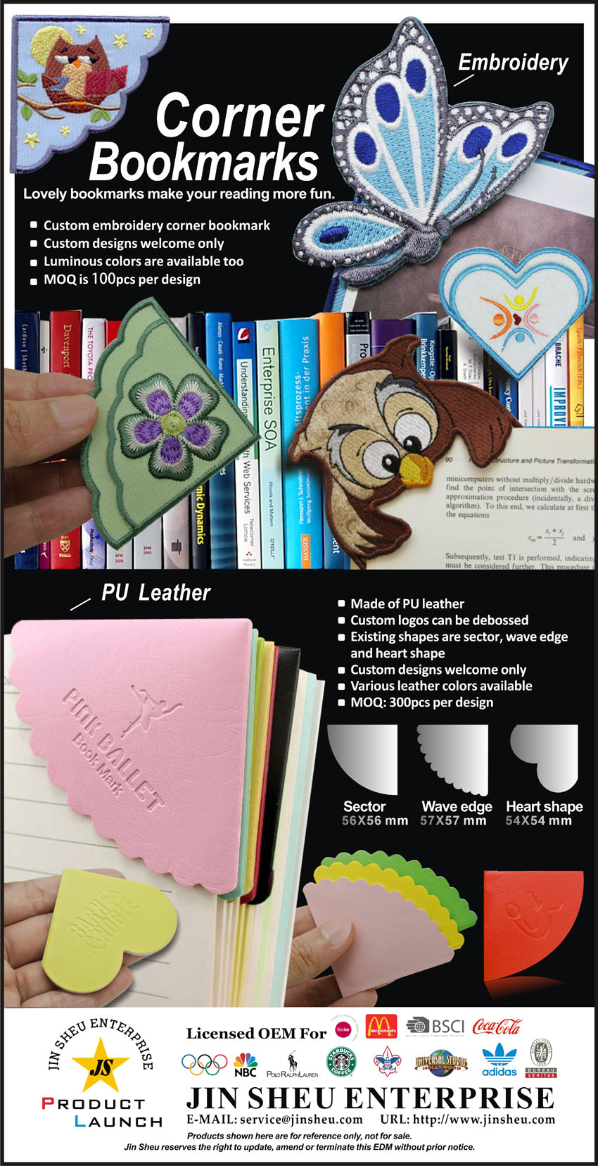 Custom corner bookmarks supplier