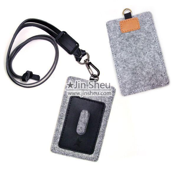 felt & leather phone sleeve and card holder