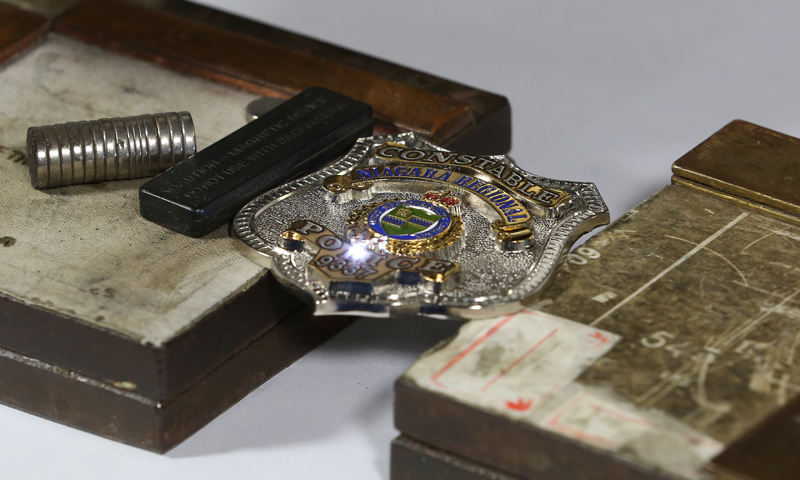 laser engraving police badge