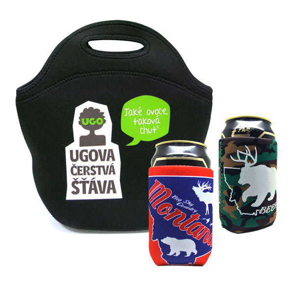 Neoprene Lunch Tote and Can Coolers