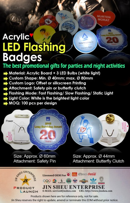 Acrylic LED Flash Badges - Acrylic LED Flashing Badges