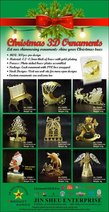 3D Christmas ornaments - Metal Christmas 3D Ornaments