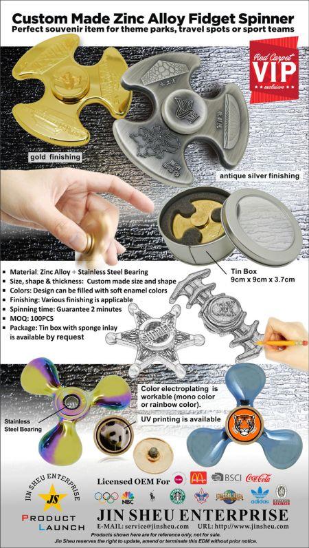 Custom made zinc alloy Fidget Spinner - Custom Made Zinc Alloy Fidget Spinner EDM