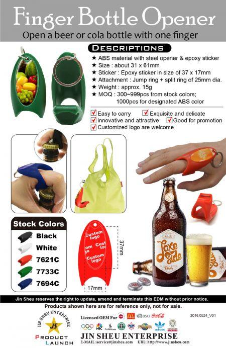 Finger Bottle Openers - ABS Finger Ring Style Bottle Openers