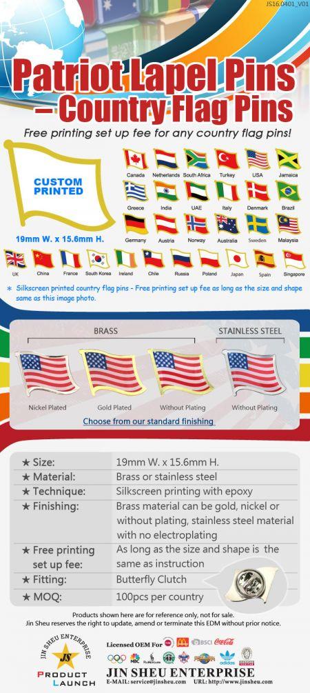 Custom Printed Patriotic Lapel Pin - Custom Printed Country Flag Lapel Pin