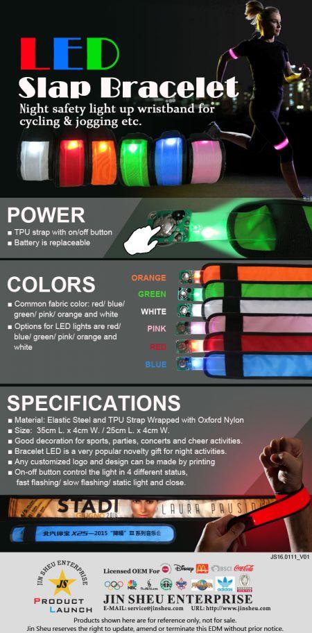 LED Slap Bracelet - Night safety light up wristband for cycling & jogging etc.