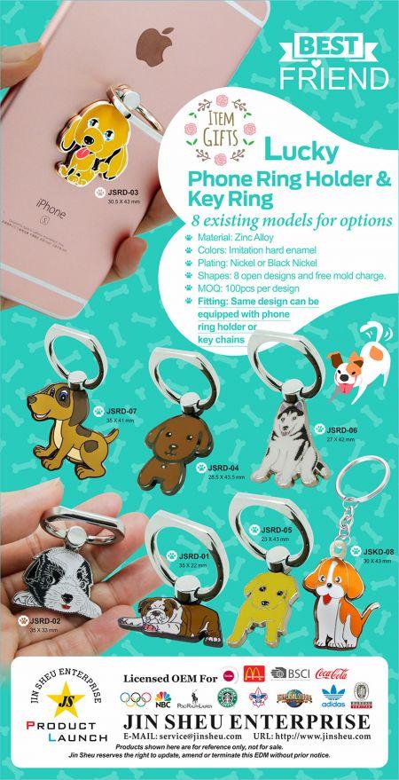 Lucky Phone Ring Holder & Key Ring - Dog Theme Phone Ring Holder