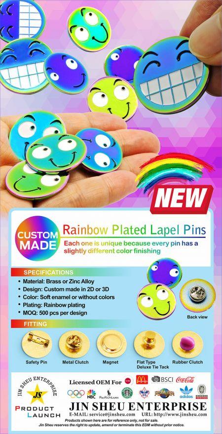 Custom Rainbow Finishing Pins - Custom Rainbow Lapel Pins