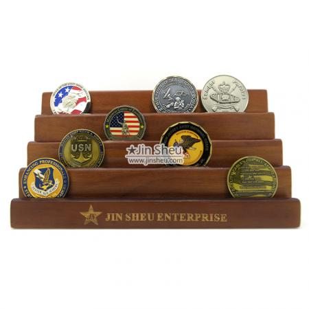 wood display racks with coins