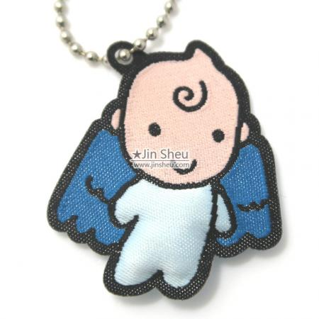 Baby Angel Padded Woven Tag and Necklace - Padded Baby Angel Fabric Necklace