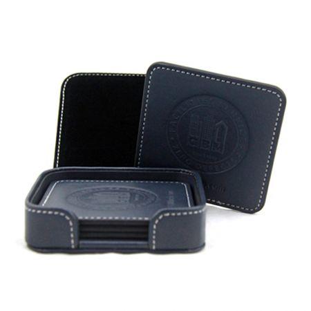 Round Leather Coaster Set - Round Leather Coaster Set