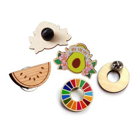 Laser Cut Wooden Lapel Pins - Laser Cut Wooden Lapel Pins