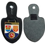 Leather Badge Holders - front and back side of leather badge holder