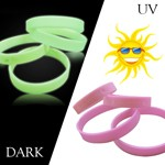 Glowing & UV Sensitive Bracelets - Customized glowing in the dark wristband and color changing UV sensitive bracelets.