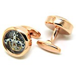 Open Designed Cufflinks - Rose gold watch movement cufflinks