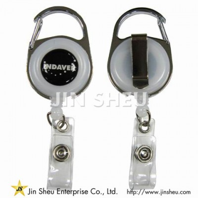 Carabiner Secure Clip Badge Reel - Carabiner Style Secure Clip Badge Reel