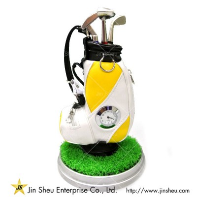 Promotional Golf Pen Holder with Clock - Golf Stationary
