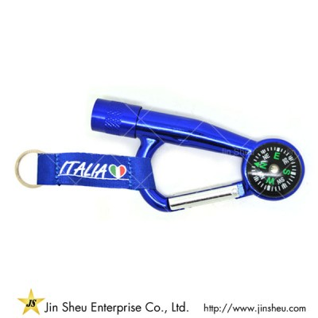 Compass LED Lanyard Carabiner Keychain