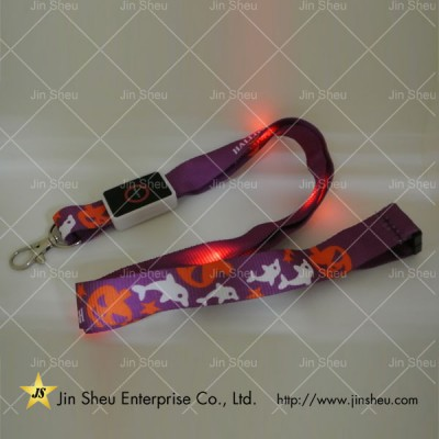 Polyester LED Flashing Lanyard - Polyester LED Flashing Lanyard