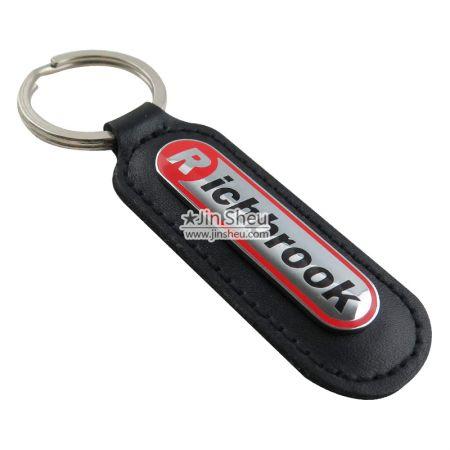 Mini Badge Leather Keychains - PU leather keyrings