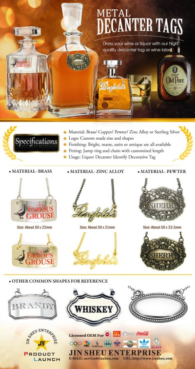 Metal Decanter Tags - Dress your wine or liquor with our high quality decanter tag or wine label.