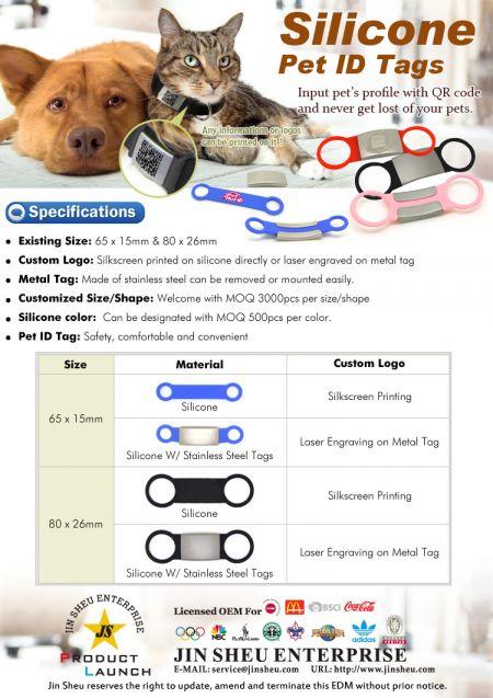 Silicone Pet ID Tags - Custom logos silicone pet id tags