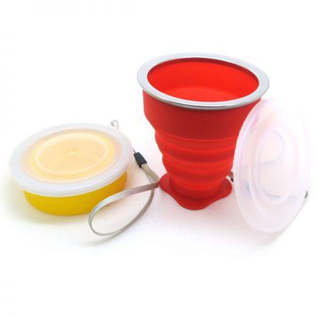Copa de agua portátil plegable - Copa portátil de silicona al aire libre