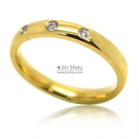 Gold plated stainless steel jewelry rings