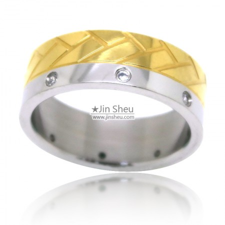 Two tone finishing stainless steel rings