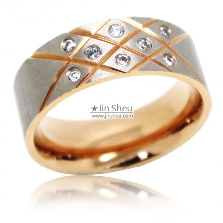 Two tone plated stainless steel rings