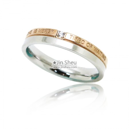 Two tone finishing stainless steel jewelry rings