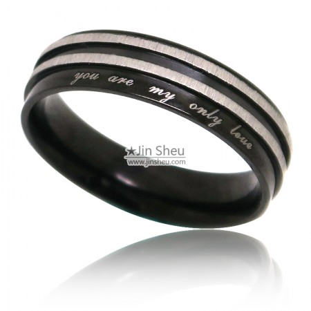 Black nickle finishing stainless steel rings with text