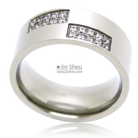 Gemstone stainless steel jewelry rings