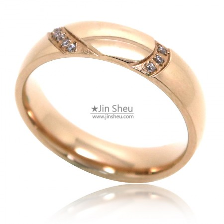 Rose gold plated stainless steel jewelry rings