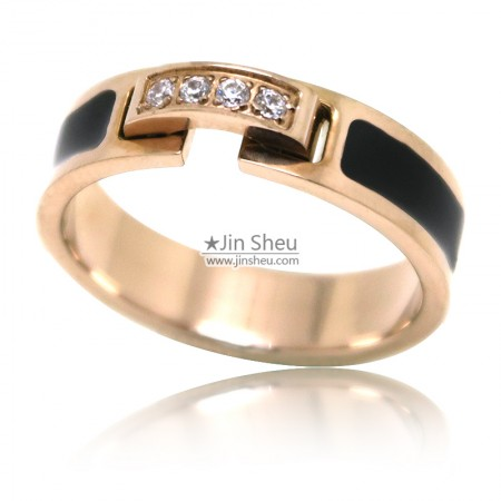 Rose gold plated stainless steel rings