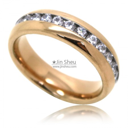 Rose gold plated gemstone stainless steel rings