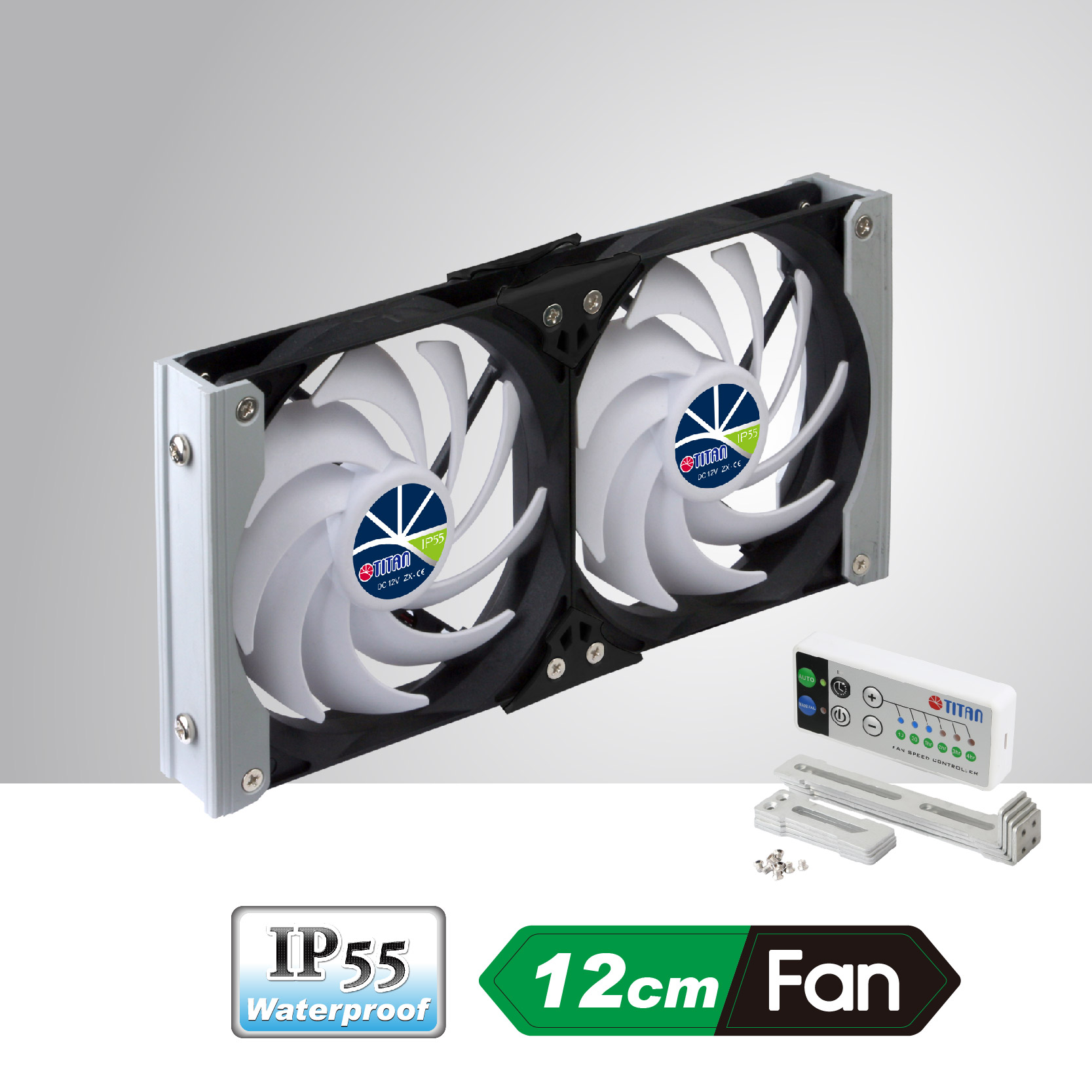 12v Dc Ip55 Waterproof Double Mount Ventilation Cooling Fan With Auto Cool Car Rack Can Be Applied To Refrigerator Vent In Motorhome Camper Van Caravan Travel Trailer Or Audio Vedio Cabinet