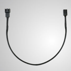 3-Pin All Black Braided Fan Extension Cable