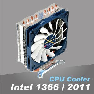Intel LGA 1366/2011 CPU Cooler - Aluminum cooling fins and copper base optimize the heat dissipation.