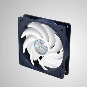 12V DC IP55 Waterproof / Dustproof Case Cooling Fan / 120mm - TITAN- IP55 waterproof &dustproof cooling fan is suitable for humid/dust-exist environment or precise instrument.