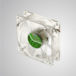 12V DC 80mm Kukri Silent Transparent Green Cooling Fan with 7-blades - With transparent green frame and 80mm silent fan with 9-blades, creating great cooling performance