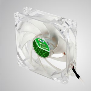 12V DC 92mm Kurkri Silent Transparent Green Cooling Fan with 9-blades - With transparent green frame and 80mm silent fan with 9-blades, creating great cooling performance